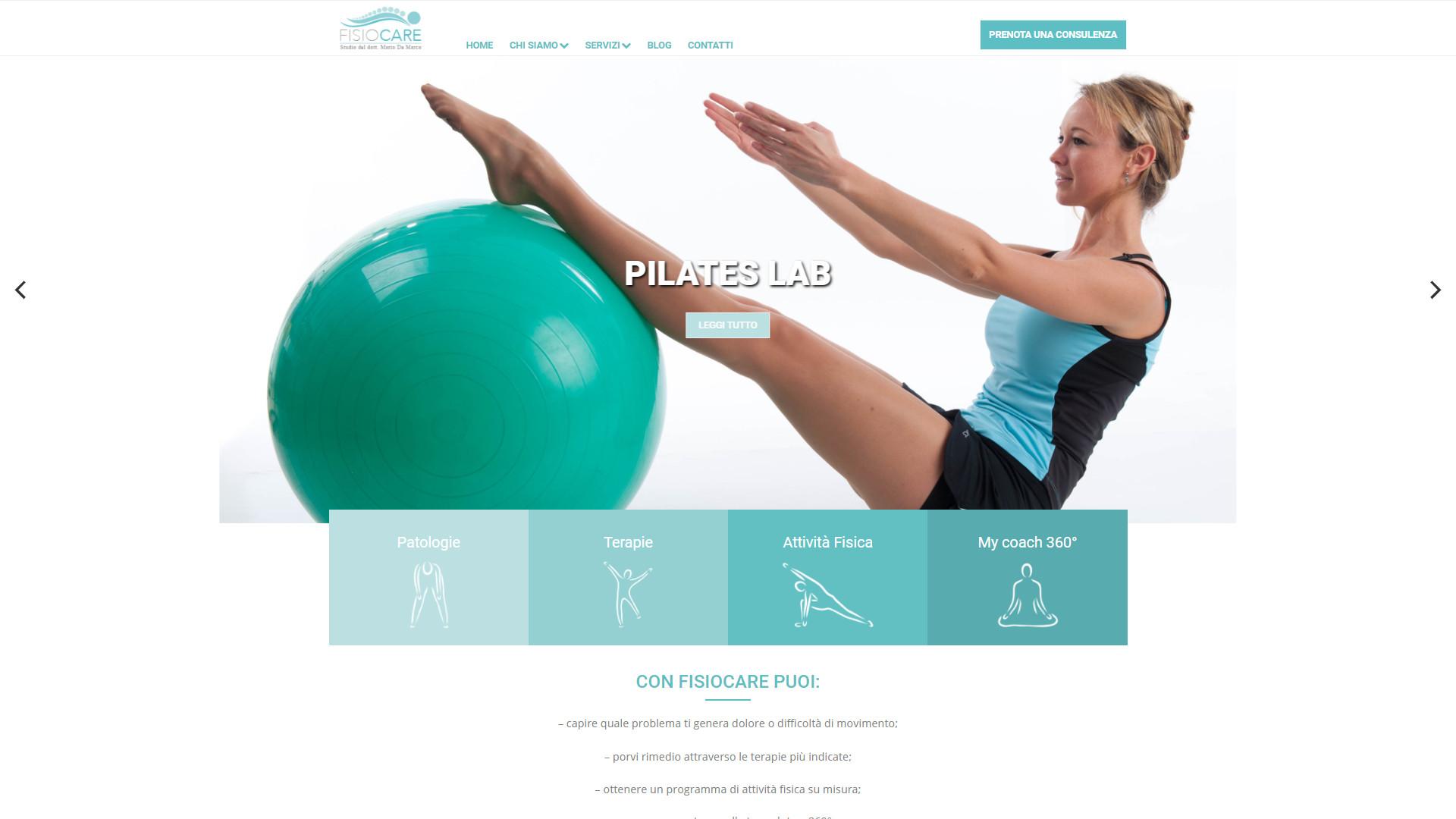Donna che fa pilates con palla - Fisiocare